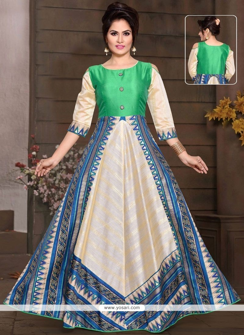 Buy Multi Colour Chanderi Readymade Gown | Gowns