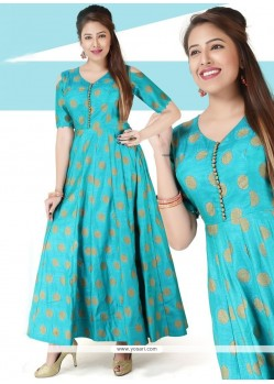 Chanderi Print Work Blue Readymade Gown
