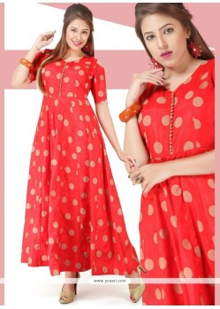 Red Chanderi Readymade Gown