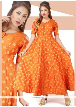 Print Chanderi Readymade Gown In Orange