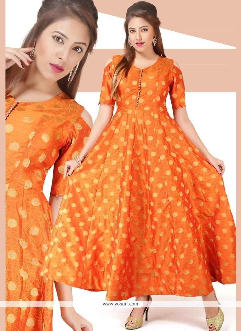 Buy Print Chanderi Readymade Gown In Orange | Gowns