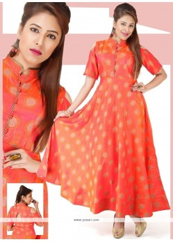 Chanderi Hot Pink Print Work Readymade Gown