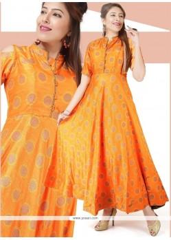 Orange Chanderi Readymade Gown