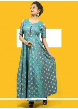 Sea Green Chanderi Readymade Gown