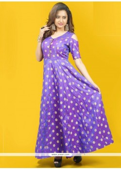 Chanderi Purple Readymade Gown