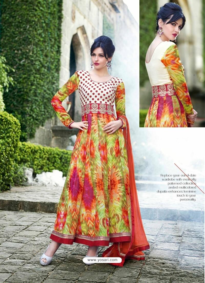 Multicolor Georgette Anarkali Suit