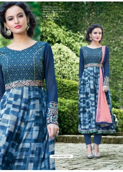 Navy Blue Georgette Anarkali Suit