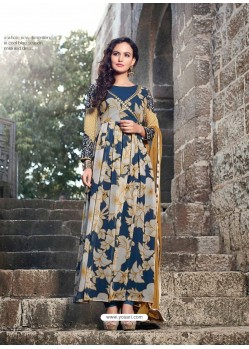 Blue And Cream Georgette Anarkali Suit