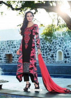 Pink And Black Georgette Anarkali Suit