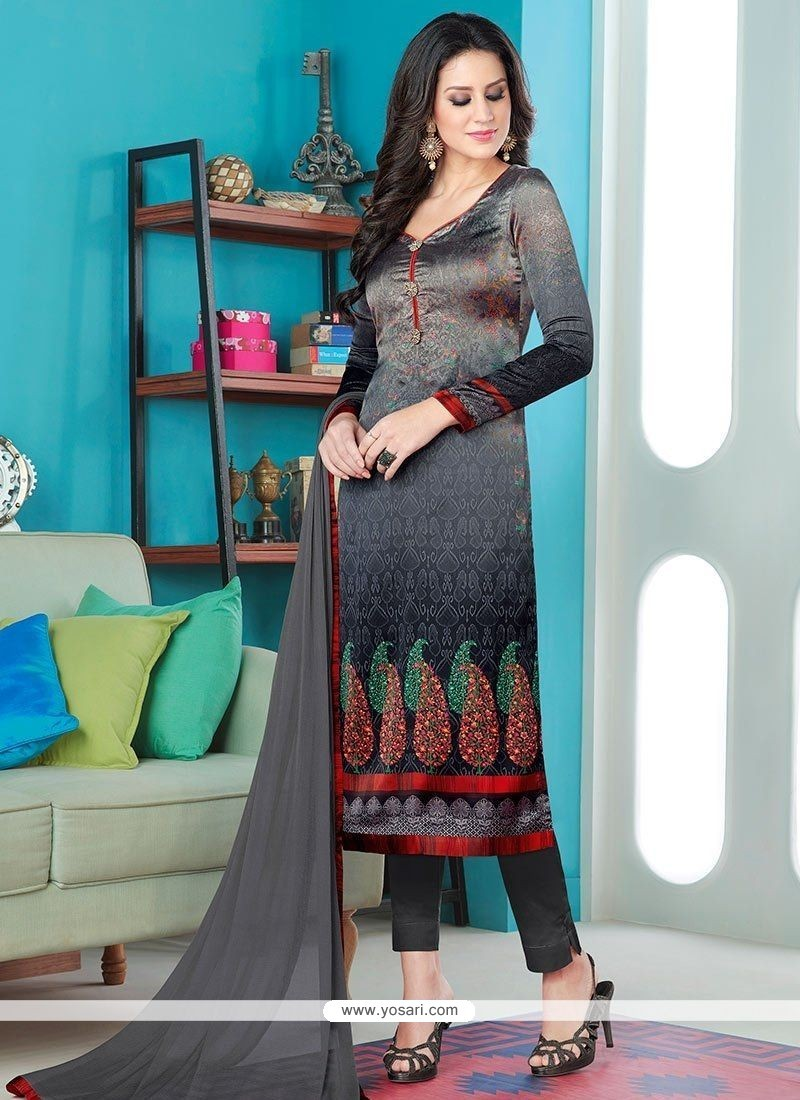 Buy Digital Print Work Black Pant Style Suit   Churidar Salwar Suits