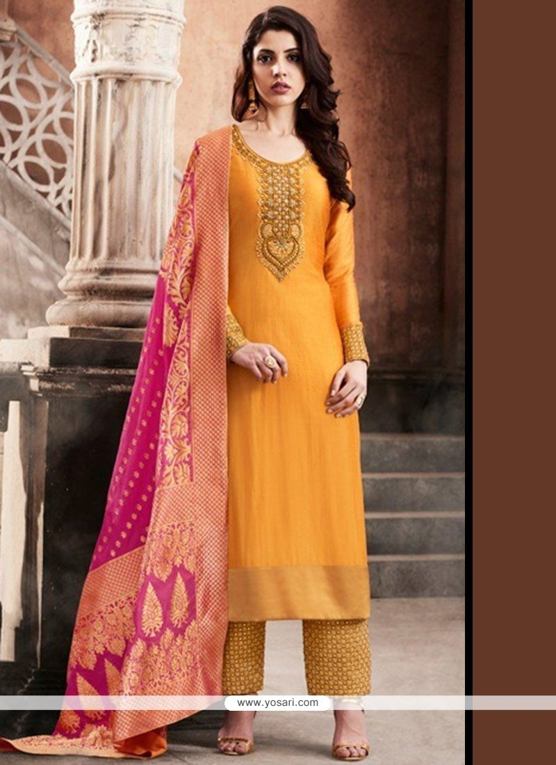 d46a66aaad7 Buy Art Silk Embroidered Work Pant Style Suit
