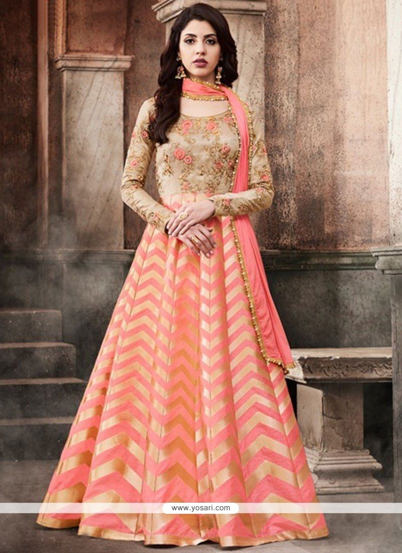 af9ef8084b Buy Peach Embroidered Work Brocade Floor Length Anarkali Suit ...
