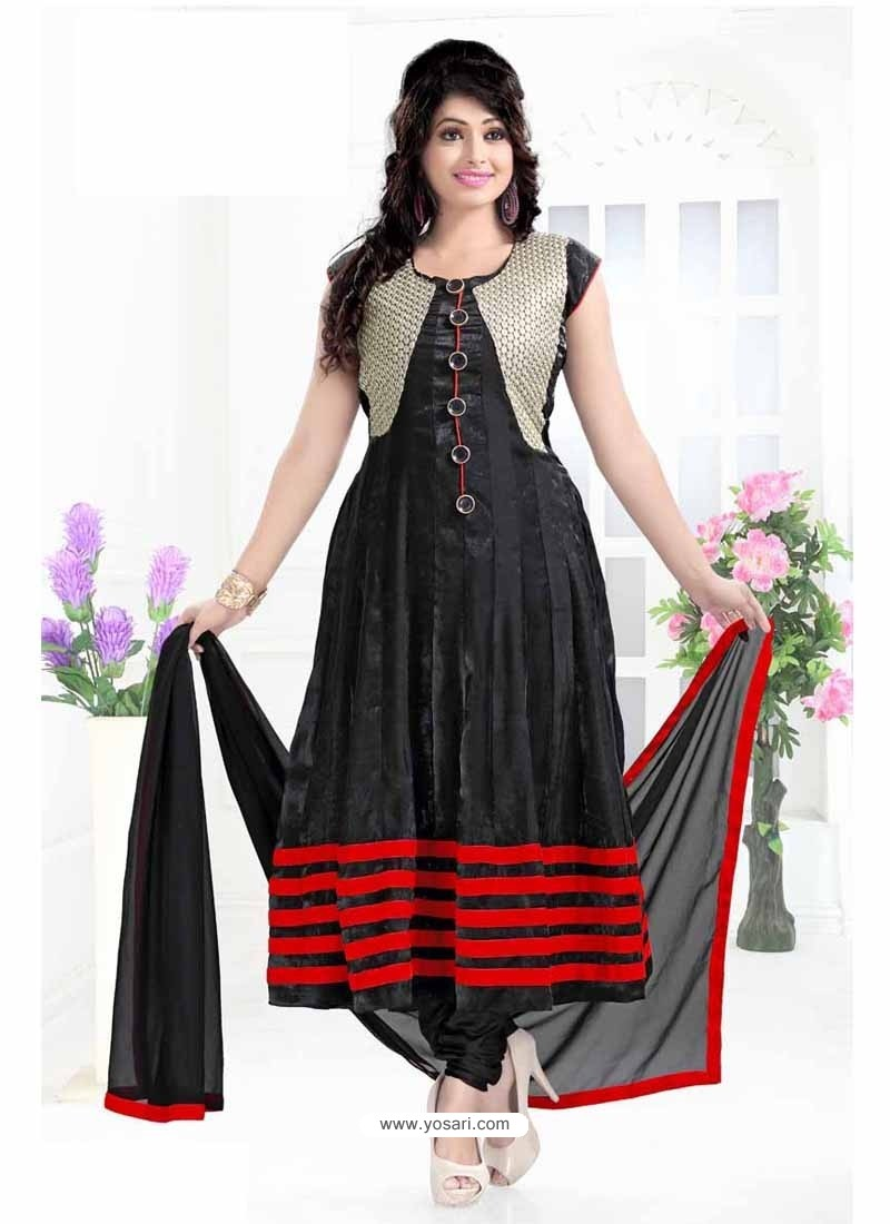 Black Cotton Silk Anarkali Suit