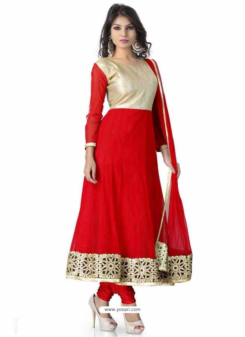 Red And Cream Net Anarkali Suit
