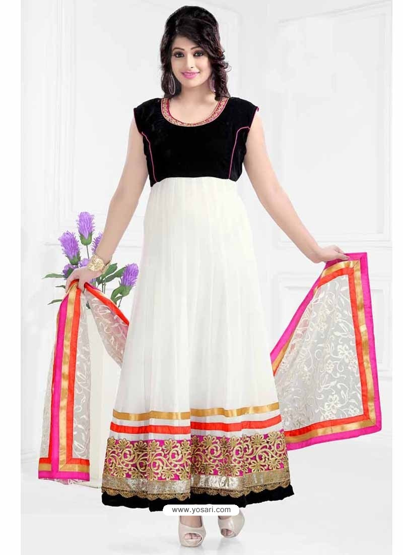 White And Black Georgette Anarkali Suit