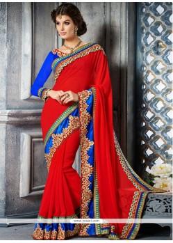 Observable Red Georgette Designer Saree