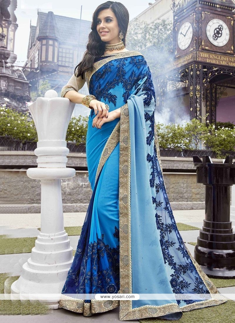 ee43affe5c Buy Blue Patch Border Work Faux Georgette Shaded Saree | Designer Sarees