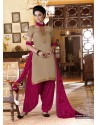 Magenta Cotton Punjabi Patiala Suit