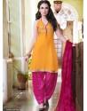 Magenta And Mustard Cotton Punjabi Patiala Suit