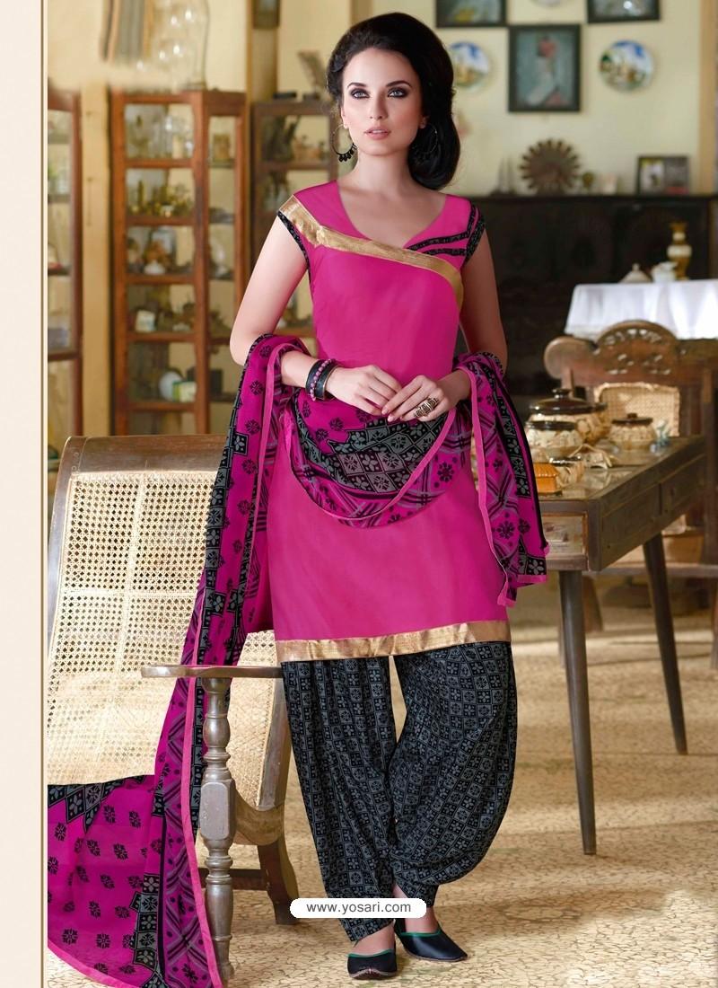 Magenta Cotton Punjabi Patiala Suit