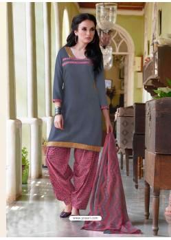 Grey Cotton Punjabi Patiala Suit