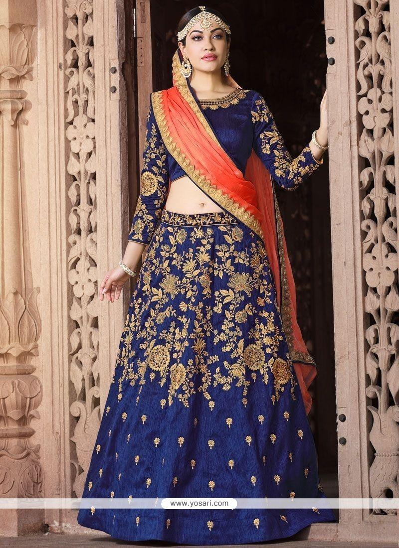f0ed2cc2ce Buy Banglori Silk Navy Blue Lehenga Choli | Wedding Lehenga Choli