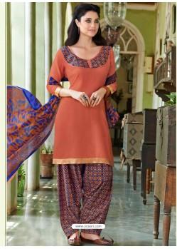 Peach Cotton Punjabi Patiala Suit