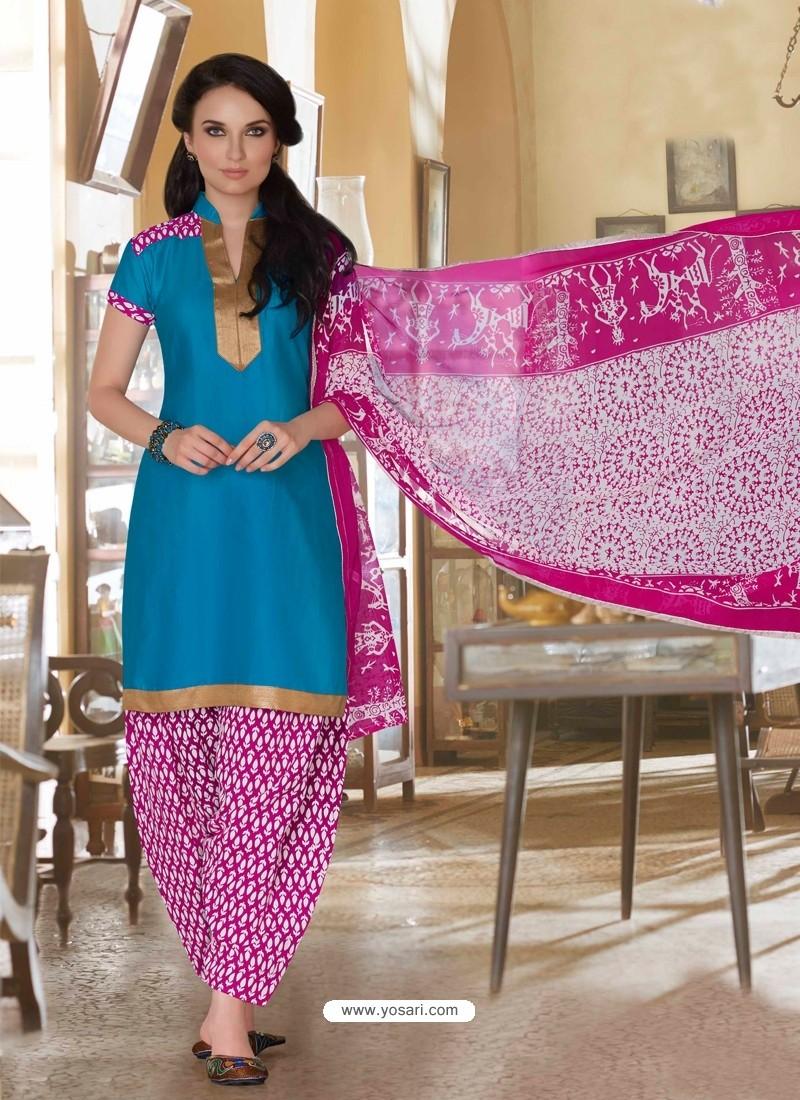 Sky Blue And Pink Cotton Punjabi Patiala Suit