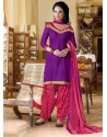 Purple Cotton Punjabi Patiala Suit
