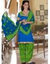 Blue And Green Cotton Punjabi Patiala Suit