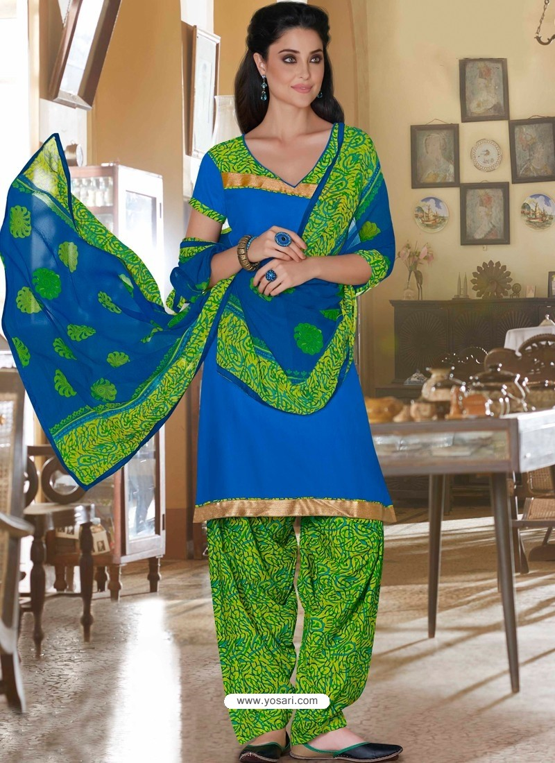 Blue And Green Cotton Punjabi Patiala Suit