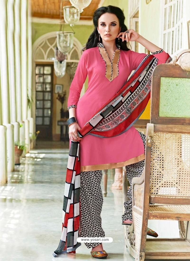 Pink Cotton Punjabi Patiala Suit