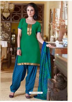 Green Cotton Punjabi Patiala Suit