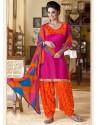 Orange Cotton Punjabi Patiala Suit