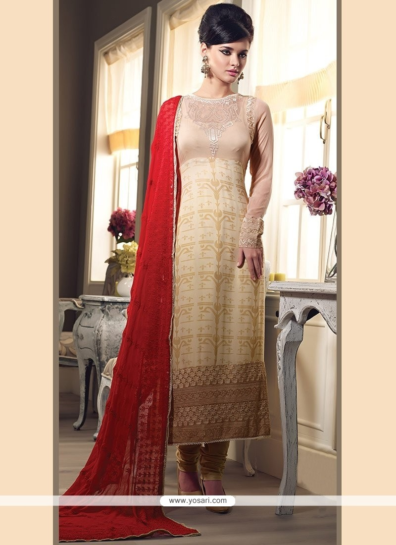 Latest Beige Faux Georgette Straight Suit