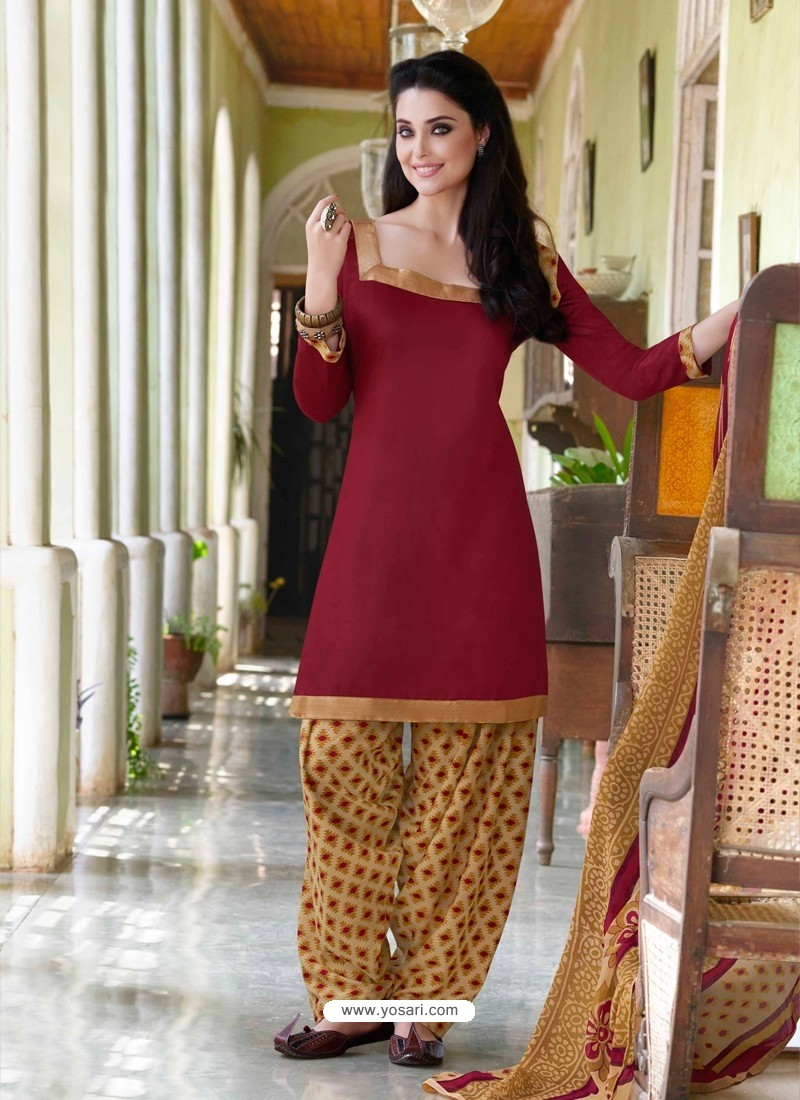 Brown Cotton Punjabi Patiala Suit