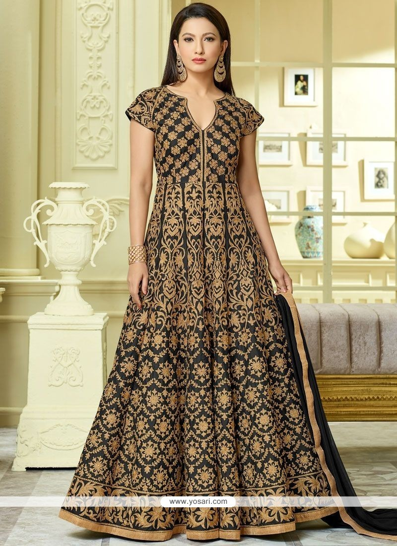 Buy gauhar khan black floor length anarkali suit for Floor length suits