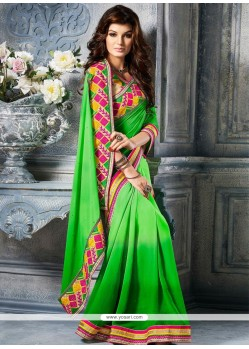 Marvelous Green Faux Chiffon Party Wear Saree