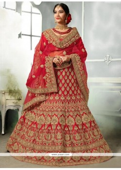 Satin Silk Red Zari Work Lehenga Choli
