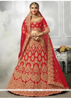 Satin Silk Patch Border Work Lehenga Choli