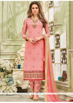 Embroidered Work Pink Faux Georgette Designer Straight Suit