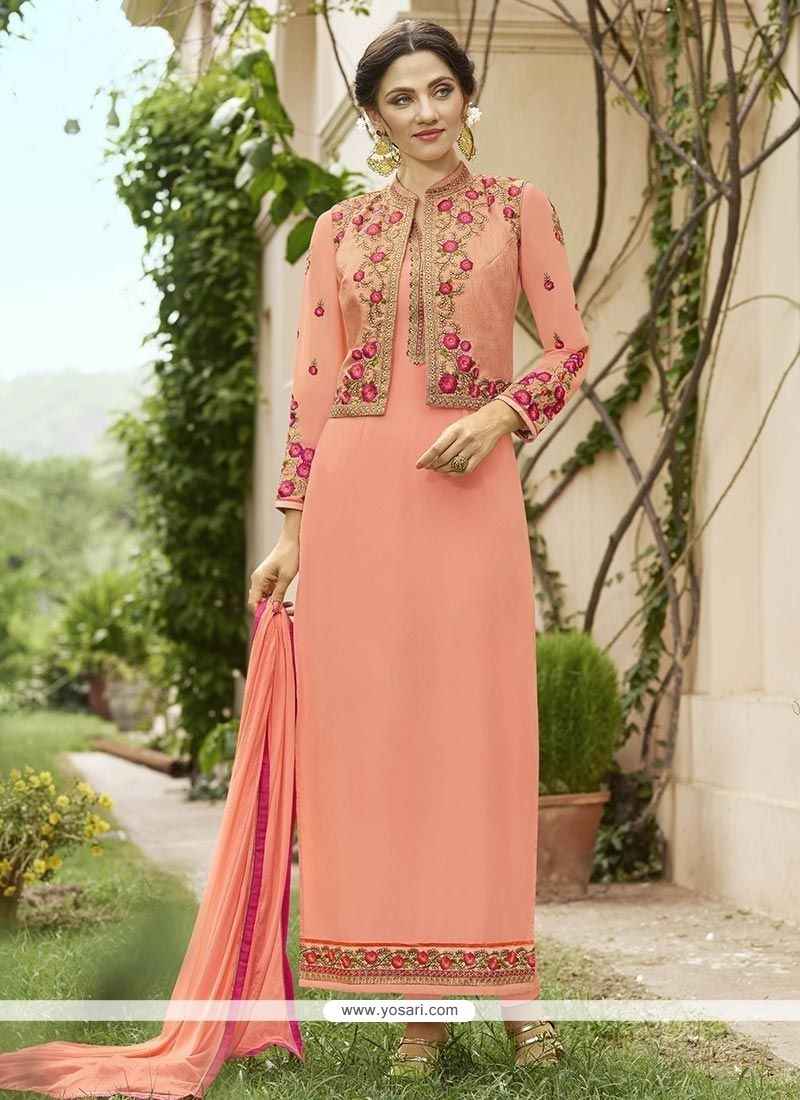 Buy Peach Jacket Style Suit Churidar Salwar Suits