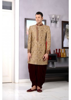 Classic Look Embroiderd Golden Dhoti Style Sherwani