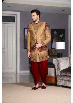 Golden Banarasi Silk Dhoti Sherwani
