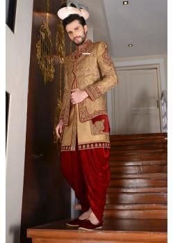 Classic Golden Jaquard Silk Dhoti Sherwani