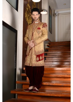 Outstanding Golden Jaquard Silk Dhoti Sherwani