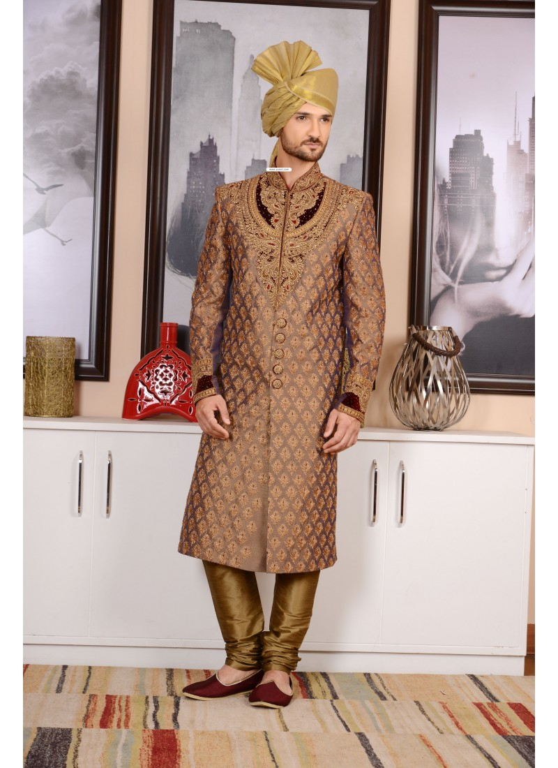 dfe545618c5 Outstanding Golden Jaquard Silk Sherwani