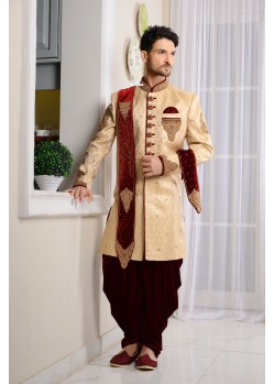 Outstanding Beige Jaquard Embroidered Sherwani