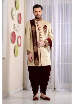 Unique Cream Jacquard Embroidered Sherwani