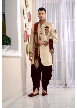 Admiring Cream Jacquard Embroidered Sherwani